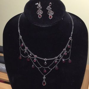 Red Hematite Necklace with Earrings
